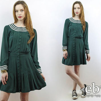 Vintage 90s Hunter Green Striped Babydoll Mini Day Dress S M Babydoll Dress Striped Dress 90s Dress Longsleeve Dress Work Dress Day Dress
