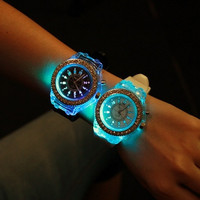 Luminous LED watches Korean fashion trends personalized luminous watch Jelly color watch Men and women couples students = 1929676420