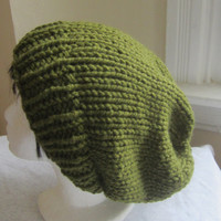 OLIVE GREEN Knit hat, dreadlock beanie, knit hat, womens hat, Ribbed  Knit Slouchy beanie, Chunky Beanie, Large to extra Large, wool