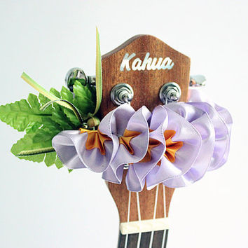 ribbon lei for ukulele /purple plumeria / ukulele accessories / ukulele decor / mandolin / banjo / hawaiian lei / satin ribbon