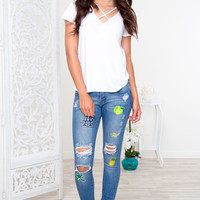Tess Distressed Patch Jeans