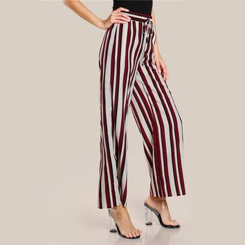 Drawstring Detail Striped Palazzo Pants Elastic Waist
