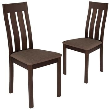 2 Pk. Milton Wood Dining Chair with Vertical Slat Back and Fabric Seat