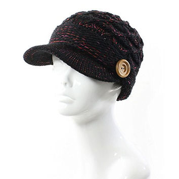 AN- Winter Warm Fashion Speckled Cable Knit Cap Hat Fleece Lined Wool Blend w/ Wooden Button , Visor Brim