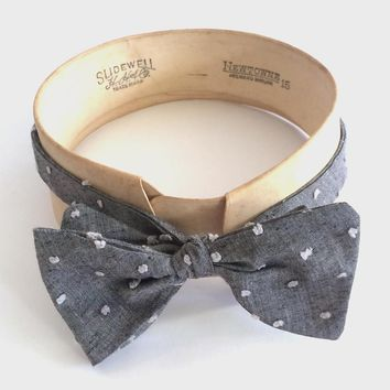 Grey Chambray Dots Bow Tie