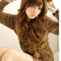 Bearears Hat Soft Plush NEW Womens Warm Coats Top Outerwear Brown Gray
