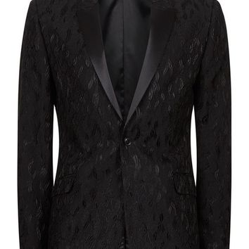 Black Jacquard Ultra Skinny Fit Suit Jacket