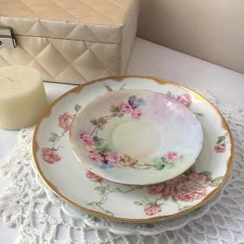 Shabby chic plates vintage display set pink flower mix match set of three