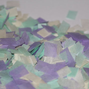 Tissue Paper Confetti, mint purple and ivory confetti,baby shower, bridal shower, wedding, birthday party, table decoration, push pop filler