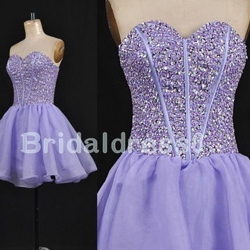 2014 Beads Purple Sweetheart Strapless Short ball Gown Bridesmaid Celebrity Cocktail Dress,Tulle Formal Evening Prom Homecoming Dress