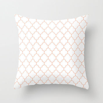 Peach Pillow - Velveteen Pillow - Quatrefoil - Girls Pillow - Teen Pillow - Girls Room Decor - Teen Room Decor - Dorm Decor - Peach Cushion
