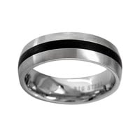 Stainless Steel Striped Wedding Band - Men