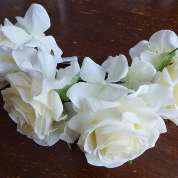 Cream White Mens Wedding Boutonnieres. Set of 4 Real Touch Rose Silk Hydrangea Boutonniere. Rustic Wedding Flowers.