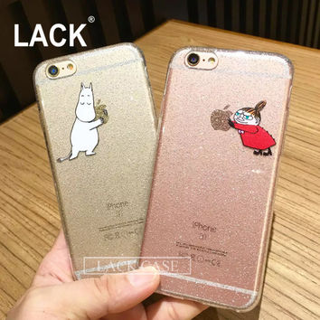 LACK Phone Cases For iphone 6 6S 4.7/ Plus 5.5 inch Case Bling Glitter Cartoon Little My Moomin Hippo Horse Protect Cover Coque