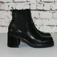90s Chunky Boots Chelsea Ankle Leather Black Grunge Boho Hipster Festival Club Kid 7.5 7 5 38 Nu Goth Cyber Minimalist Festival Punk Pull On