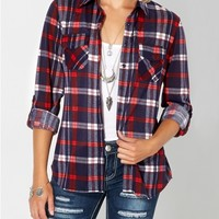 Red & Navy Plaid Button Down