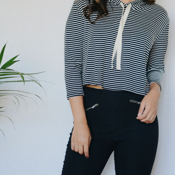 Whitney Striped Cropped Hoodie (Black)