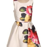 GARDEN DISTRICT FLORAL PRINT DRESS - WHITE