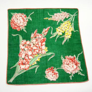 Vintage Floral Linen Handkerchief, 12 Inches Square Green Hanky with Yellow and Orange Gladiolas and Orange Cushion Mums, Orange Edge, Gift