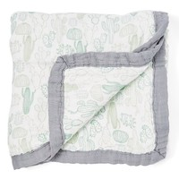 47'' x 47'' Green Cactus Triple-Layer Stroller/Receiving Blanket
