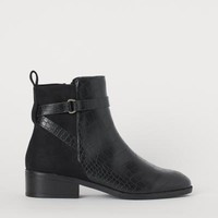 Boots - Black/crocodile-patterned - Ladies | H&M US