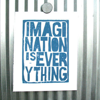 LINOCUT PRINT - Imagination is everything BLUE letterpress typography poster 8x10