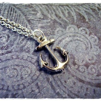 Tiny Silver Anchor Necklace - Antique Pewter Anchor Charm on a Delicate 18 Inch Silver Plated Cable Chain