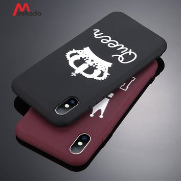 Moskado Luxury Couple Crown Style Phone Case For iPhone 5 5s SE 6 6s 7 8 Plus X Pure King Queen Letter Soft TPU Back Cover Cases