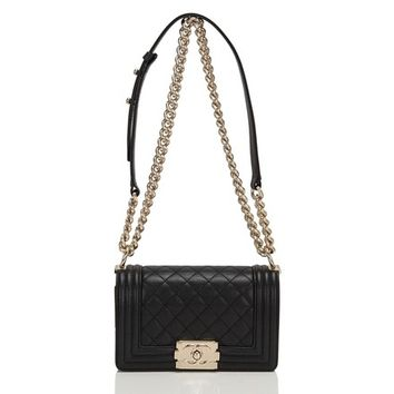 Chanel Quilted Caviar Small Boy Shoulder Bag