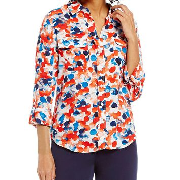 Investments Elbow-Length Roll-Tab Sleeve Printed Utility Blouse   Dillards