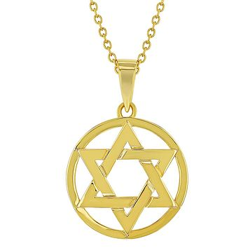 18k Gold Plated Small Star of David Jewish Religious Pendant Necklace for Girls 18""