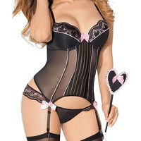 Plus Size Satin and Lace Love Set with Paddle