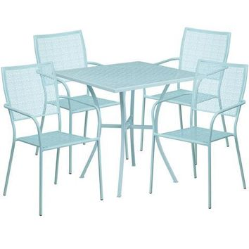 28'' Square Sky Blue Indoor-Outdoor Steel Patio Table Set with 4 Square Back Chairs