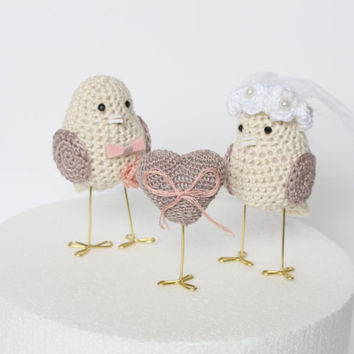 Cake Topper - Wedding Cake Topper - Love Birds Cake Topper - Doves Cake Topper - Bride and Groom Cake Topper - Crochet Cake Topper