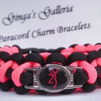 Black and Neon Pink BROWNING BUCK Paracord Survival Charm Bracelet
