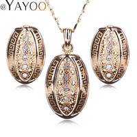 AYAYOO Jewelry Sets For Women Girls Necklace Earrings  Gold Plated Vintage Bridal Imitation Crystal Fashion Accessories Holiday
