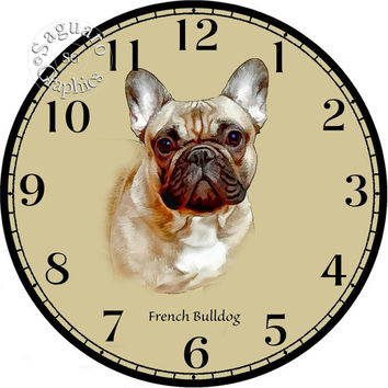 """French Bulldog Simplify Drawings Art -DIY Digital Collage - 12.5"""" DIA for 12"""" Clock Face Art - Crafts Projects"""