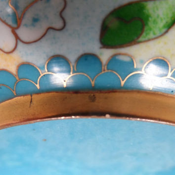 Chinese vintage cloisonne bowl - fine decoration - Antique Chinese enamel metalwork - flowers blue ground - Collectible Oriental Asian decor