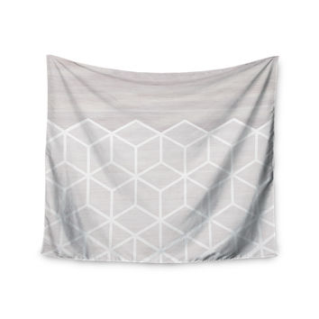 "Draper ""Geo White Woodgrain "" Gray White Wall Tapestry"