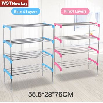2016 New 2-6 Layers Tier Stainless Plastic Shoes Rack Organizer Stand Shelf Holder Unit Black Light  Shoe Rack Free shipping