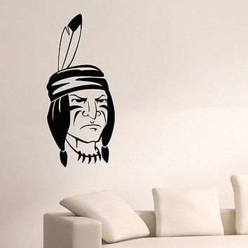 WALL DECAL VINYL STICKER PEOPLE NATIVE AMERICAN INDIAN MAN TRIBAL DECOR SB943