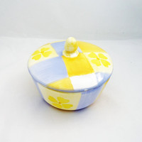 Vintage Sugar Bowl, Yellow and Blue Sugar Bowl, Porcelain Sugar Bowl,  UK Seller