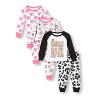 Baby And Toddler Girls Long Sleeve Glitter 'Boss Babe Like Mom' Tops And Printed Pants 6-Piece Snug-Fit PJ Set