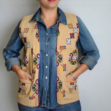 Vintage Tan Vest with Colorful Decorative Stitching