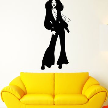 Vinyl Wall Decal Disco Retro Girl African Black Woman Stickers (2508ig)