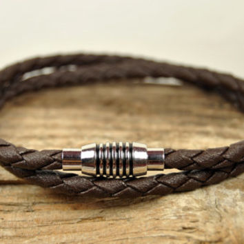 FREE SHIPPING - Men Bracelet, Leather Men Bracelet, Men's Leather Bracelet, Braided  Brown Leather Bracelet