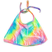The Rainbow Tie Dye Velvet Halter Top