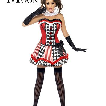 MOONIGHT Halloween Circus Costume Clown Clothes Tutu Princess Cosplay Costume For Women