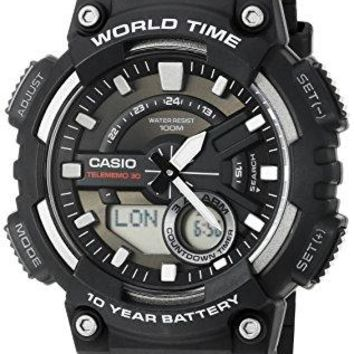 Casio Men's AEQ110W-1AV Analog and Digital Quartz Black Watch