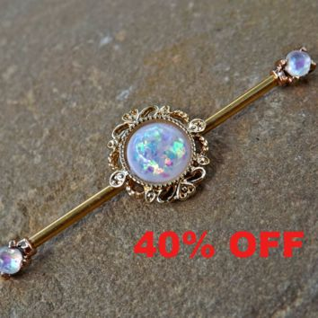 Beautiful Gold Glitter Opal Industrial Barbell Scaffold Piercing 14ga Body Jewelry 316L Surgical Stainless Steel